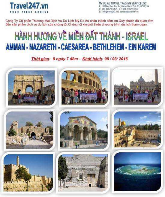 Hành hương về Miền Đất Thánh Israel 8 ngày - 7 đêm 01